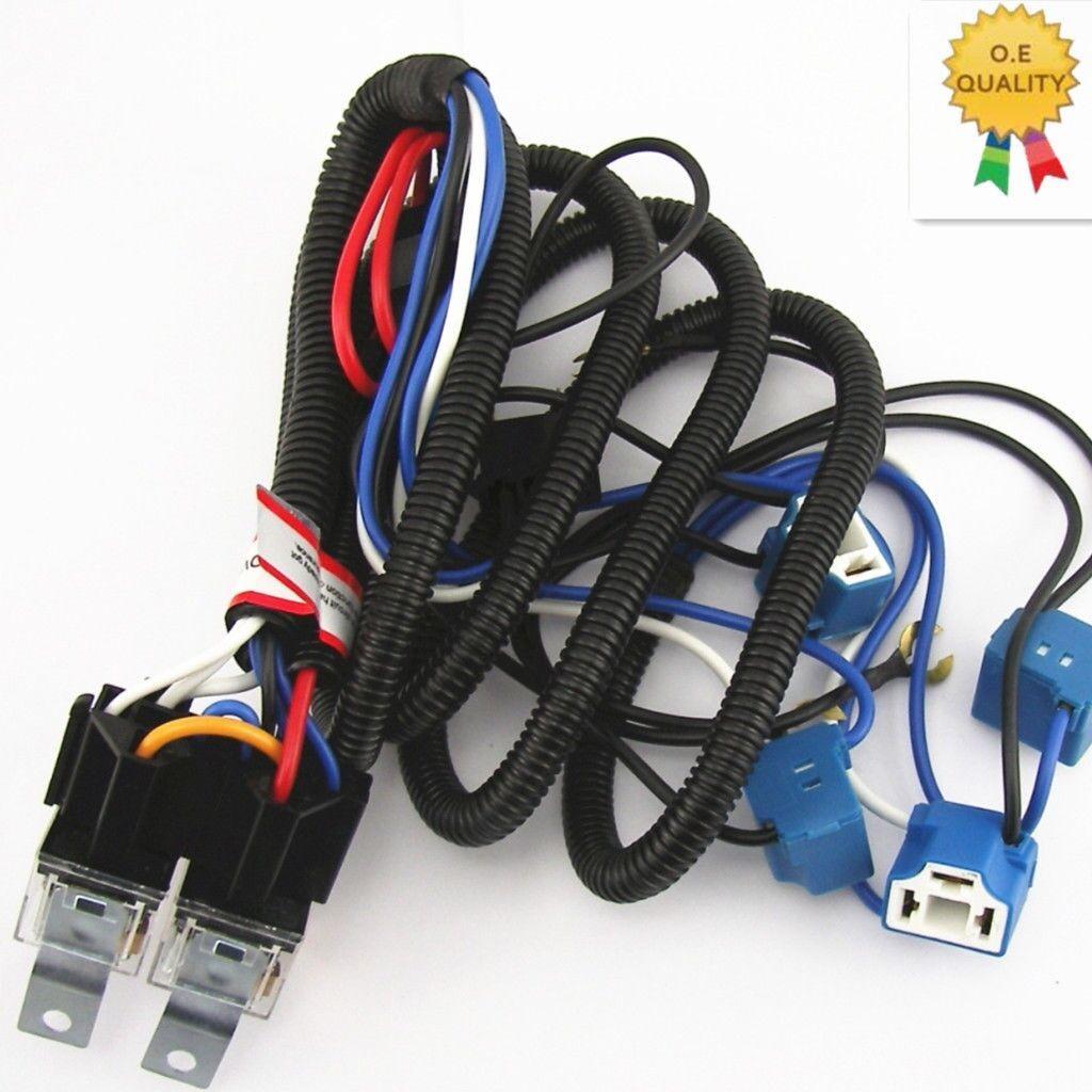 4 Headlight Relay Wire Harness H4 9003 Light Bulb Ceramic Socket ...