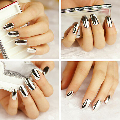 Simple Metal Metallic Surface Acrylic Long False Nails Tips Pure Silver 24pc #02