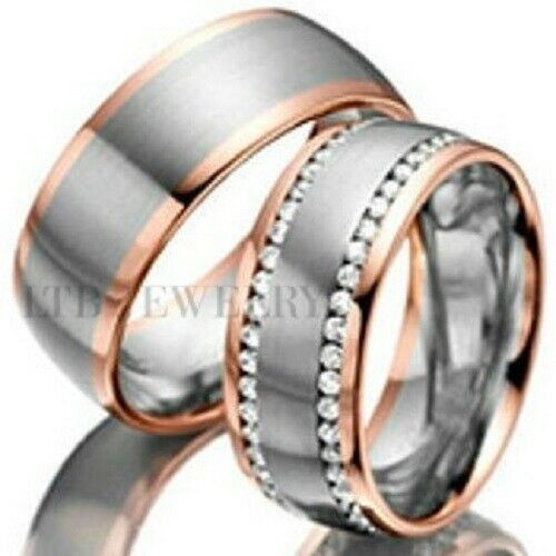 TWO TONE GOLD WEDDING BANDS,10K GOLD HIS & HERS DIAMOND WEDDING RINGS SET