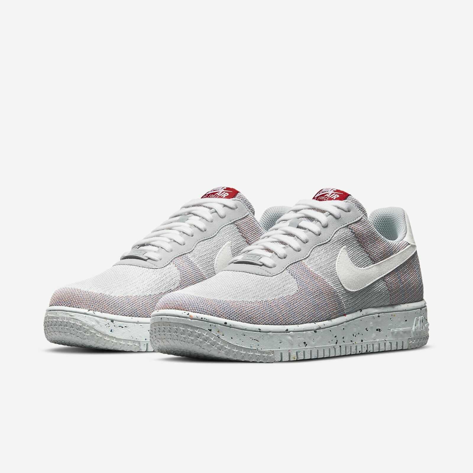 Nike AF1 Crater Flyknit Air Force 1 Wolf Grey White Red Men Casual DC4831-002