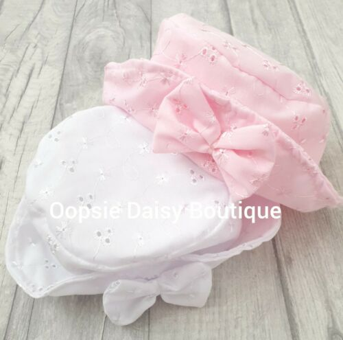 Baby Girls Romany Style Sun Hat Traditional Broderie Anglaise Baby Bonnet
