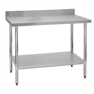 Details About Stainless Steel Commercial Work Prep Table 4 Backsplash 24 X 48 G