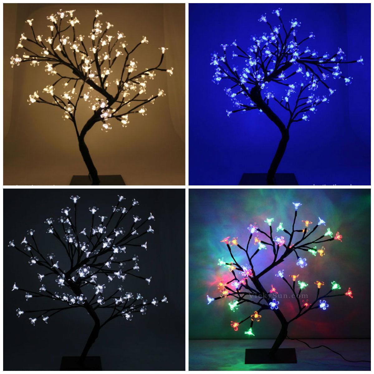 Navidad árbol bonsai LED blancoo Cálido Azul Rojo Cherry Blossom Navidad Luces probadas