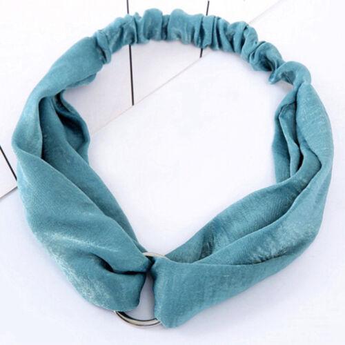 Metal Circle Cross Headband Vintage Boho Elastic Hair Band Turban Wrap one