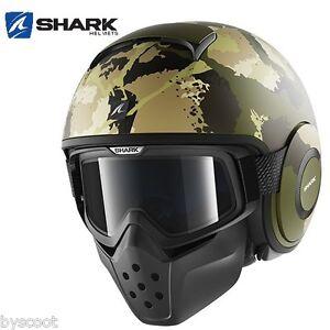 Casque-SHARK-RAW-KURTZ-Mat-noir-vert-lunette-jet-moto-scooter-armee-kaki-NEUF