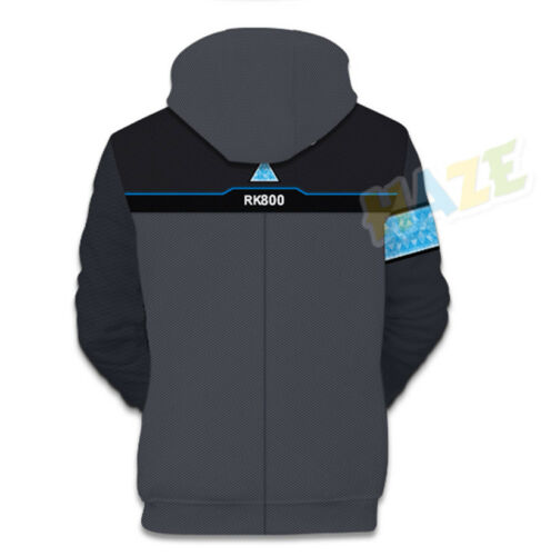 Game Detroit Become Human Connor RK800 Fleece Baseball Hoodie Sweatshirt