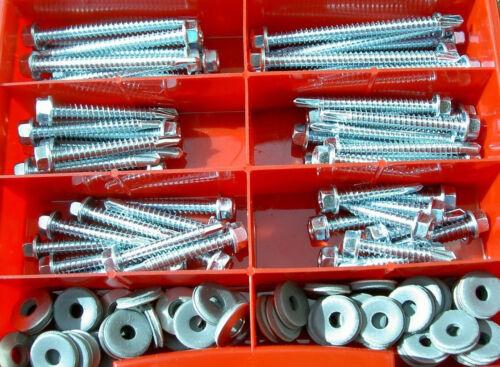 60 Teile Trapezblech-Bohrschrauben Sortiment Box Din 7504 Dichtscheiben 19mm VA