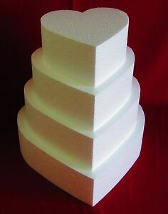 "New Foam Cake Dummy set 4 pc Heart 8"" to 14"" at 4"" Thick EPS Foam"