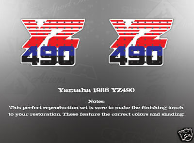 YAMAHA 1986 YZ490 DECAL GRAPHIC KIT LIKE NOS