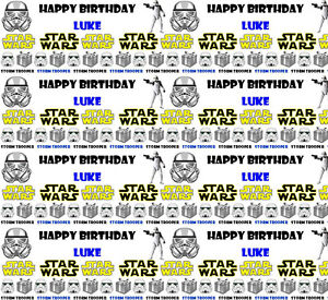Image is loading Personalised-Birthday-Gift-Wrapping-Paper-STAR-WARS-Any-  sc 1 st  eBay & Personalised Birthday Gift Wrapping Paper STAR WARS Any Name! | eBay