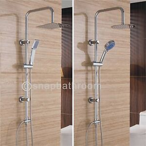 Large Chrome Dual Mixer Adjustable Thin Shower Heads Riser Kit Bathroom Set Uk Ebay