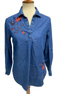 Sonoma Goods For Life Top Long Sleeve Cotton Denim Blue Petite Medium