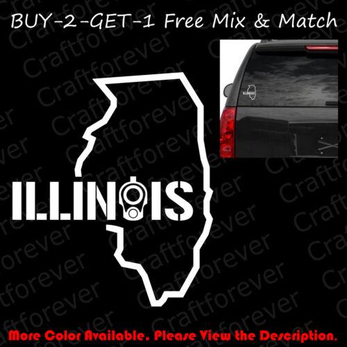ILLINOIS COLT 1911 Barrel Sticker Car Window Decal Vinyl 2A CCW Gun Rights FA043