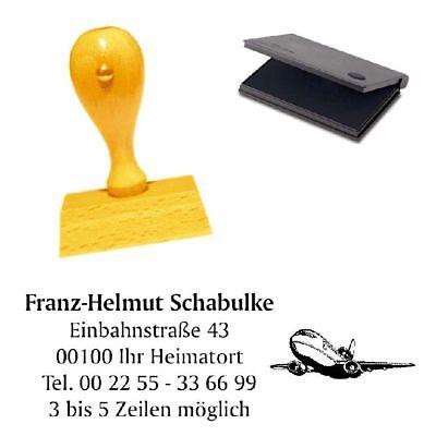 Adressenstempel « FLUGZEUG » mit Kissen Stempel für Piloten Flugbegleiter
