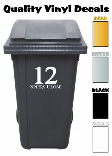 4 x Custom Vinyl Decal Wheelie Bin Stickers House Number Graphic Street Name 2