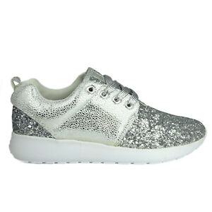 610c27bce9c Womens Ladies Lace Up Silver Glitter Sparkly Trainers Sneakers Gym ...