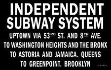 1935 New York Subway Sign Poster 11X17  Bronx Queens Brooklyn Jamaica Train