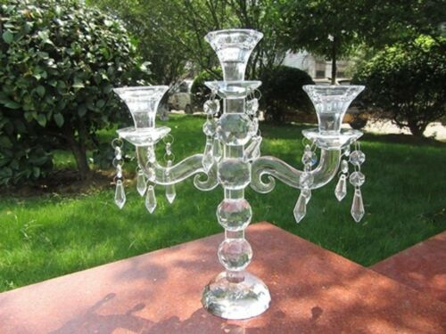 1X 3Heads Crystal Candle Holder Candelabra 28cm High