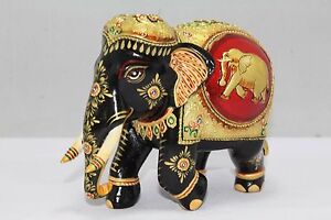Indian-Handicraft-Wooden-Elephant-Figure-With-Gold-paint-Decorative-Gift-item