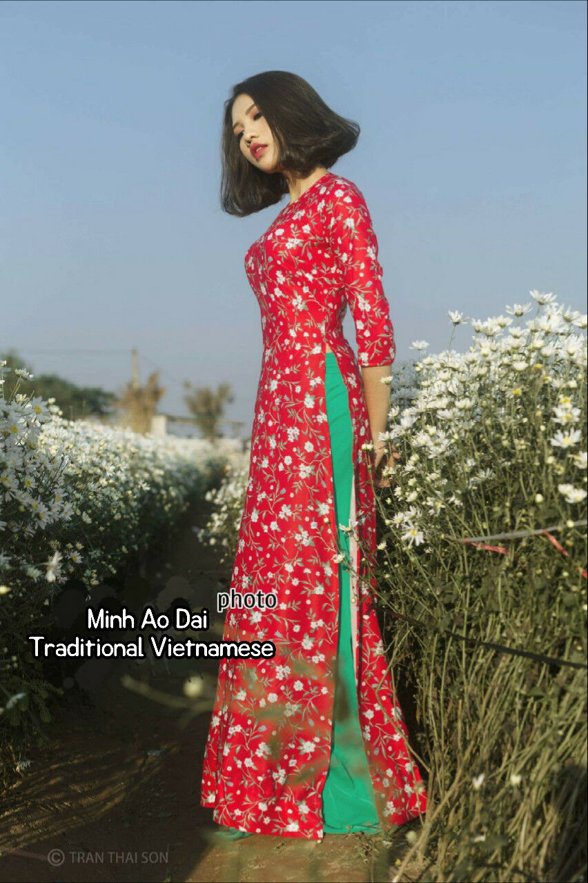 Red Handmade Vietnamese Ao Dai Japan Silk Auth With Small Flower & Green Pants