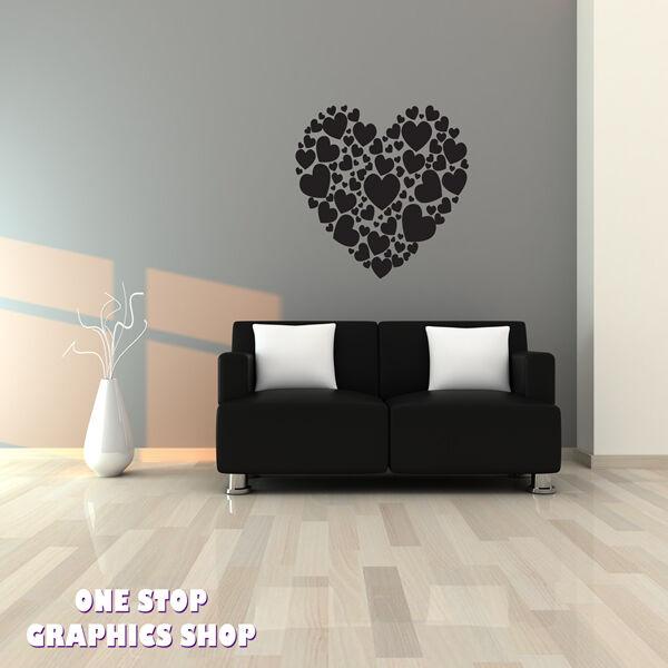 HEART OF HEARTS WALL ART STICKER - BEDROOM LOUNGE LOVE VINYL DECAL