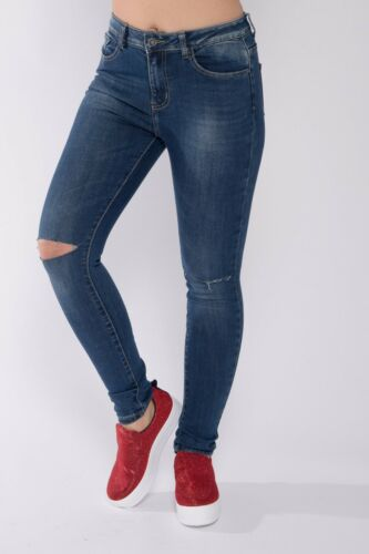 Womens Ladies Skinny Stretchy Mid Waisted Blue Fit Jeans Denim Jegging Size 6-16