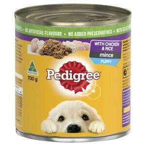 Pedigree Mince With Chicken & Rice Puppy Wet Dog Food Can 700g