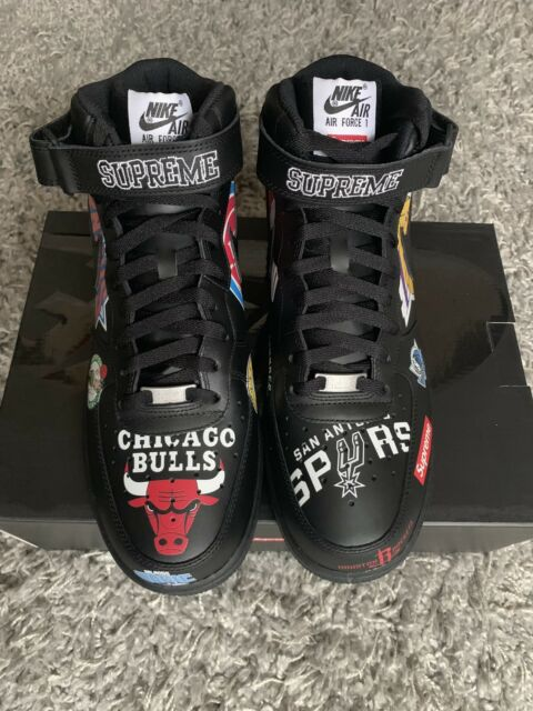 buy popular 82596 bbbbd Supreme X NBA Air Force 1 Mid Black SS 18 Logo Size 11.5