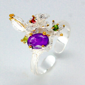 Free-size-Vintage-Natural-Amethyst-925-Sterling-Silver-Ring-for-Bi-sexual-RVS82