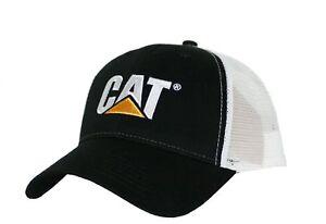 862d00421f7 Image is loading Caterpillar-CAT-Equipment-Trucker-Black-amp-White-Twill-