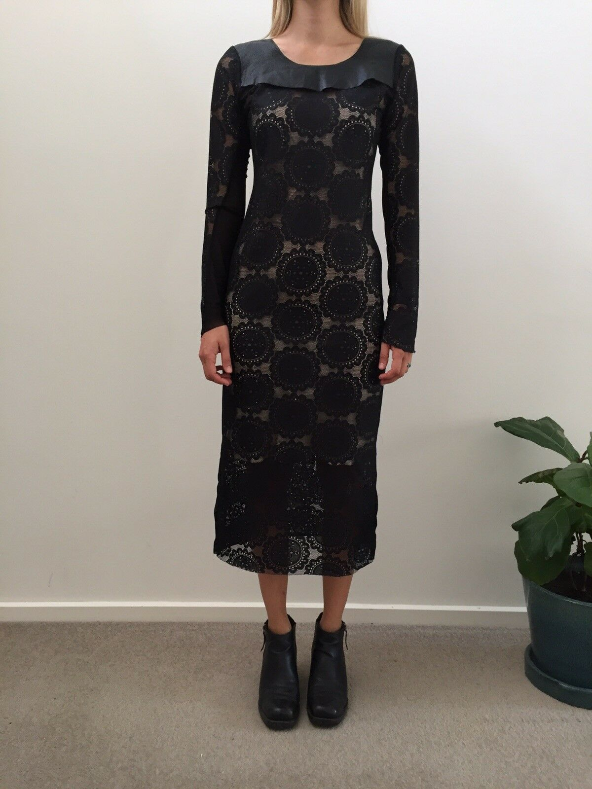 Serpent And The Swan Night Veil  Lace & & & Leather Dress Size 10 Medium  575 f71f89