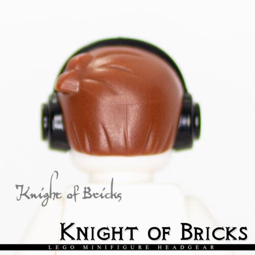 Lego New Reddish Brown Minifigure Hair Short with 2 Locks Left Side Headphones