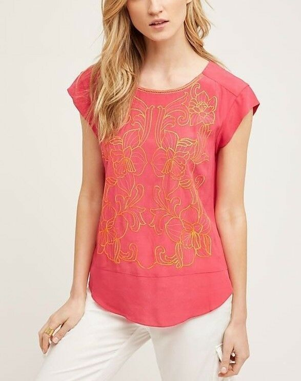 ANTHROPOLOGIE Maeve Pink Floral Embroidery Blouse NwT 6 16