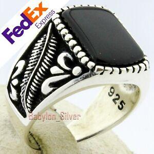 Turkish Handmade 925 Sterling Silver Onyx Stone Luxury Men/'s Ring All Sizes