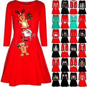Womens-Christmas-Long-Sleeve-Santa-Reindeer-Gingerbread-Ladies-Swing-Mini-Dress