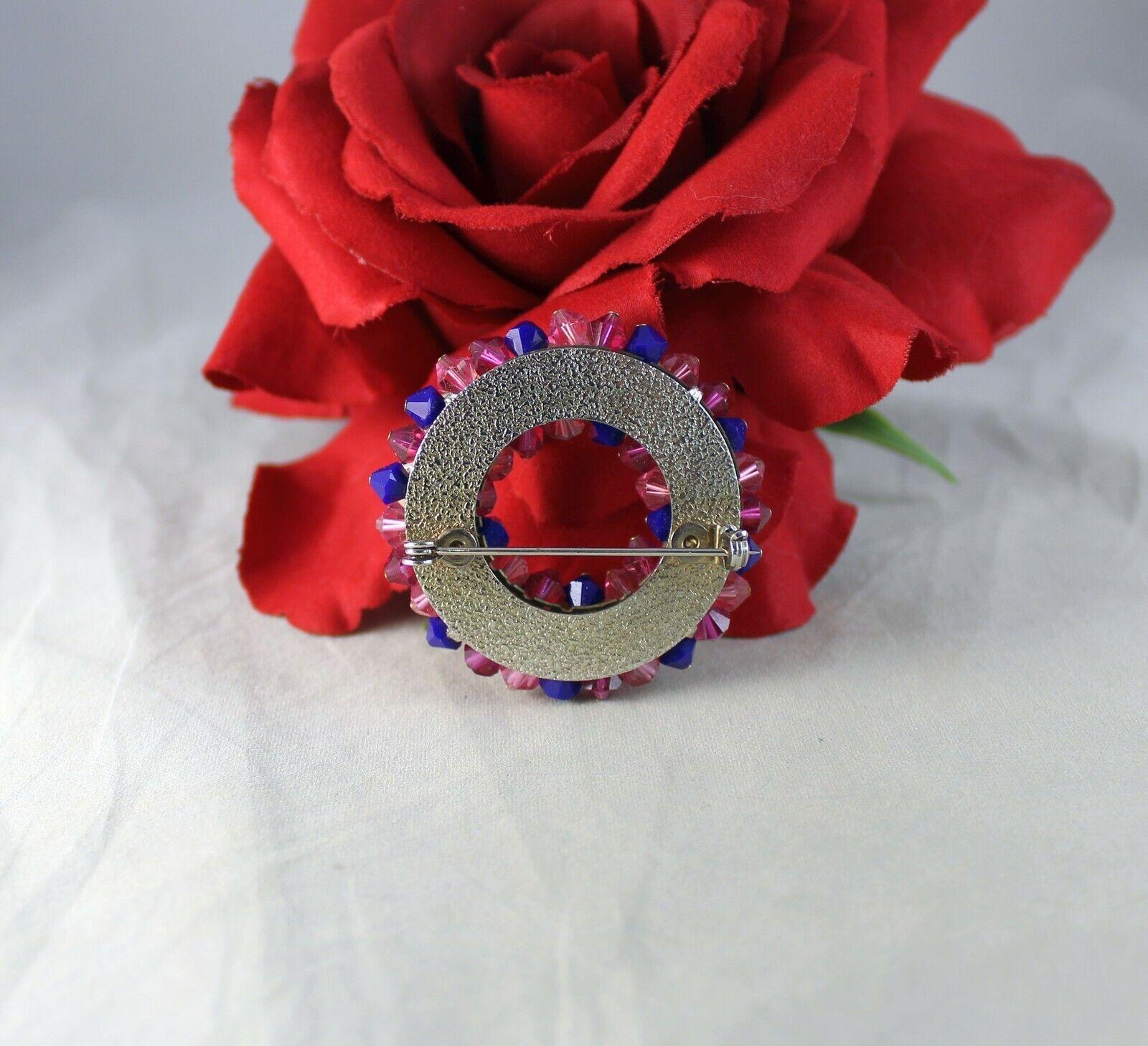 Vintage Pink Purple Crystal Rhinestone Faux Pearl… - image 2