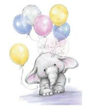 New Wild Rose Studio Clear rubber stamp Bella w Balloons Birthday gift Elephant