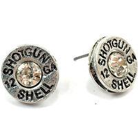 Western Hammered Plate 12 Gauge Shotgun Bullet Shell Rhinestone Post Earrings