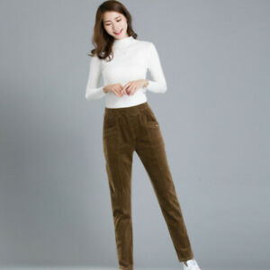 Women-Ladies-Fleece-Corduroy-Pants-Thick-Trousers-Casual-Tapered-Winter-Warm-New
