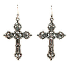 Large Silver Cross Earrings 80's Style Gothic Victorian Christian Crucifix