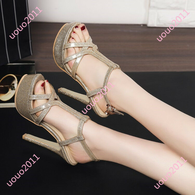 18 Women Sexy High Heel Open Toe Platform Glitter Sandals Snkle Strap Shoes Size