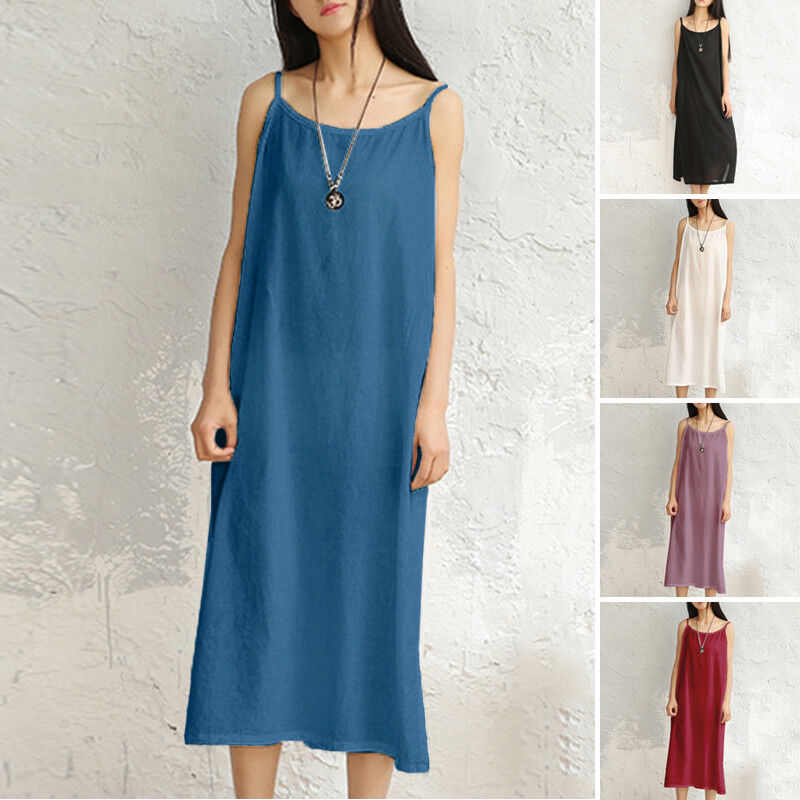 Women Cotton Linen Loose Long Shirt Summer Sling Dress Casual MAXI Dress Retro @