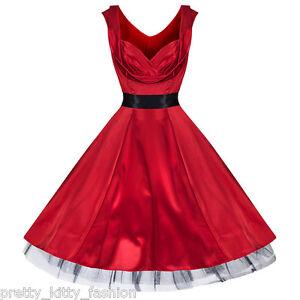 Pretty-Kitty-ANOS-50-Rockabilly-Saten-Rojo-Swing-Vintage-Elegante