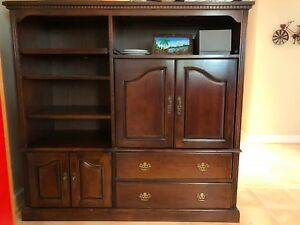 Image Is Loading Solid Wood Dark Cherry Entertainment Center TV Stand
