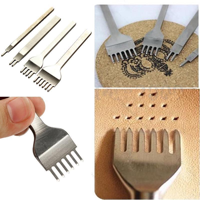 1-10 Hole 3//4//5//6mm Leather Craft LeatherCraft Hole Stitching Punch Tool