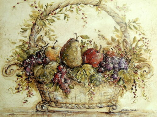 FRUIT BASKET PICTURE GRAPES APPLES PEARS  STILL LIFE ART PRINT 16X20