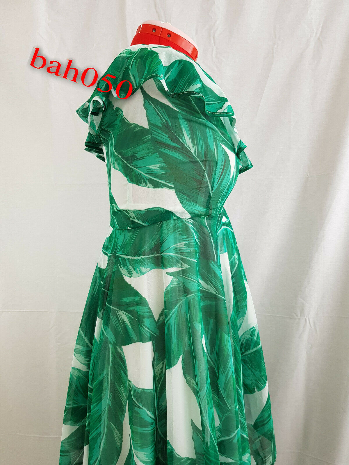 V V V by Petite Maxi Vestido Estampado Volante Very-verde blancoo, PVP  tamaño 8 907619