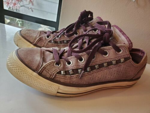 CONVERSE ALL STAR suede studded burgundy sneakers