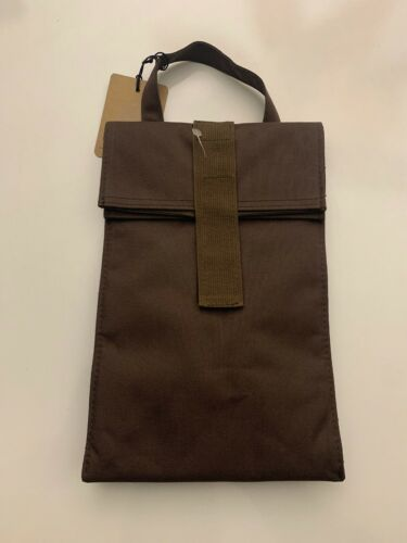 NEW  POTTERY BARN BROWN  DO YOUR PART REUSABLE INSULATED LUNCH BAG SACK STORAGE