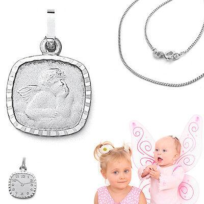 Schutz Engel Taufuhr mit Geburtszeit Gravur 2 in 1 Anhänger mit Kette Silber 925